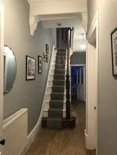 Hall refresh with Dulux Warm Pewter Hall Paint Colors, Hallway Wall Colors, Hall Colour, Hallway Paint, Grey Hallway, Room Paint, Dulux Warm Pewter, Dulux Grey, Hall Painting