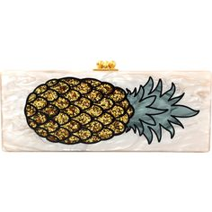 Edie Parker Flavia Pineapple Clutch ($1,495) ❤ liked on Polyvore featuring bags, handbags, clutches, nude clutches, edie parker, nude purses, gold clutches and nude handbags