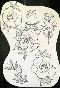 Clock and Rose Tattoo Designs Flash Art Tattoos, Tattoo Sketches, Tattoo Drawings, Art Drawings, Rose Drawings, Drawing Flowers, Painting Flowers, Art Flowers, Pretty Flowers