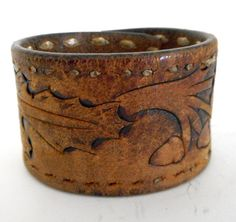 Distressed Acorn Leaf Leather Cuff Reclaimed by honeyblossomstudio