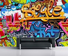 Giant size Graffiti wallpaper mural. Perfect decoration wall mural photo wallpaper for home interior walls. Living room or bedroom. Can be installed in kids room. Express sipping available.