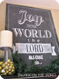Chalkboard Christmas Shelves