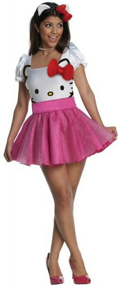 This Hello Kitty Costume includes an adorable dress with a white Hello Kitty print bodice with red bow and a sparkly pink skirt.