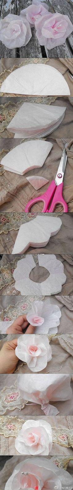 Flowers made out tissue paper DIY    Flores hechas de papel de seda para hacer uno mismo