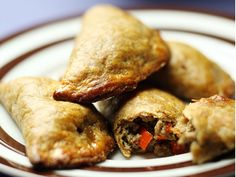 Beef pastries / empanadas - cooked ground beef and rice, vegetables, spices of choice & optional cream cheese wrapped in pastry dough and baked in the oven for Cheese Wrap, Beef And Rice, Empanadas, Chicken Wings, Ground Beef, Oven, Spices, Meat, Baking