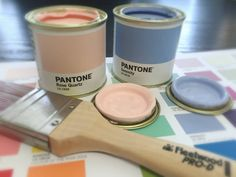 We have Pantone Colours of the Year 2016 Rose Quartz and Serenity available to try from these cute tester pots! Now you can decorate your whole home in Pantone! Check out www.ie to locate your nearest stockist! Pantone Paint, Pantone Color, Fleetwood Paint, Color Of The Year, Color Card, Color Mixing, Rose Quartz, Year 2016, Colours