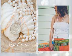 OM Shanti Shanti Shanti MALA long White Shell necklace /India