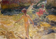 Joaquin Sorolla The Bath, Javea oil on canvas 1905 Paintings I Love, Painting Prints, Art Prints, Spanish Painters, Spanish Artists, Art Database, Renoir, Figure Painting, Metropolitan Museum