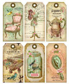 Vintage printable labels, vintage tags, vintage clip art