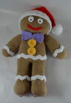 crochet toy patterns gingerbread man knitting pattern - Knitting pattern instructions to knit a Gingerbread Man Soft Toy. Christmas Knitting Patterns, Easy Knitting Patterns, Crochet Toys Patterns, Knitting For Kids, Double Knitting, Stuffed Toys Patterns, Loom Knitting, Free Knitting, Knitting Projects