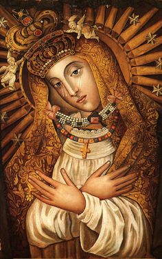 A painting of the miraculous icon of the Mother of Mercy, venerated in the chapel above the Gate of Dawn (Aušros Vartai) in Vilnius, the capital of Lithuania.    The image is venerated worldwide by Lithuanian and Polish Catholics. In Poland it is known as the 'Matki Boskiej Ostrobramskiej', or Our Lady of Ostra Brama. The Russian Orthodox Church also acknowledges the image as miraculous.