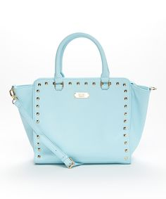 Look at this #zulilyfind! Baby Blue Stud Square Satchel by BCBG Paris #zulilyfinds