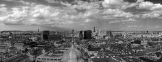 Black and white Vienna panorama in Austria