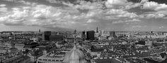 Black and white Vienna panorama in Austria