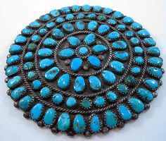Early-Superb-Navajo-Manta-Pin-Petit-Point-amp-Snake-Eye-Cluster-Natural-Turquoise