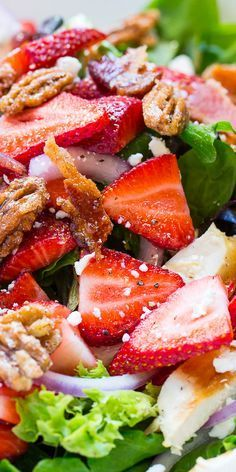Strawberry Fields Salad with bacon, feta cheese, cranberries, glazed pecans, and grilled chicken. recipes for dinner Strawberry Fields Salad, Strawberry Salad Recipes, Salad With Strawberries, Salad With Fruit, Strawberry Poppyseed Salad, Summer Salads With Fruit, Glazed Pecans, Healthy Salad Recipes, Sauces