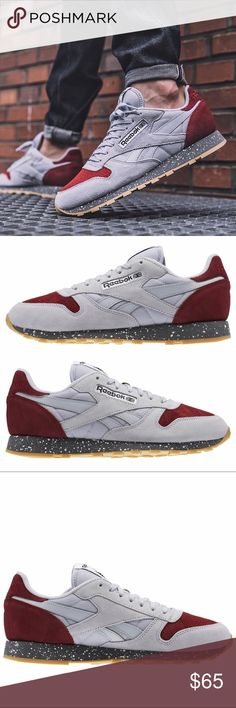 NWT Men s Reebok Classic gray burgundy Size 10 New with tags Men s Reebok  Classics gray burgundy Black midsole with White speckles Size 10 Does not  come ... 8b4ee5b7f