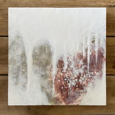 """Original encaustic painting by Tamara Lepianka. Encaustic and mixed media on wood panel with a 1.5"""" gallery cradle. The edges are finished in a medium brown shellac as shown. The painting is wired and ready to hang. 18 x 18 x 1.5 in 