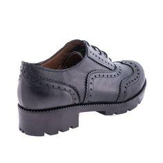 Siyah Gerçek Deri Kadın Oxford Ayakkabı