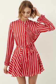 Cecilia Stripe Ruffle Dress  >>Discover the latest fashion trends online at storets.com #ruffledress #redstripedress #resruffledress