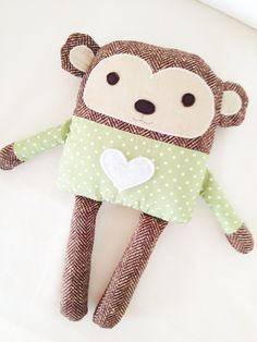 Monkey Sewing Pattern  Toy Monkey Pattern  PDF by GandGPatterns, $8.00