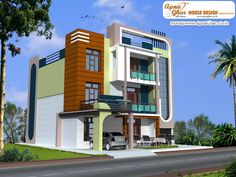 Modern triplex house design, Area: 223 sq mt. Click on this link (http://www.apnaghar.co.in/pre-design-house-plan-ag-page-63.aspx) to view free floor plans (naksha) and other specifications for this design. You may be asked to signup and login. Website: www.apnaghar.co.in, Toll-Free No.- 1800-102-9440, Email: support@apnaghar.co.in