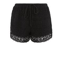 Black Crochet Shorts  | New Look