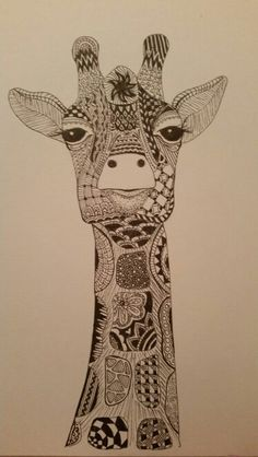 Kerry's Giraffe zentangle Giraffe Colors, Giraffe Art, Giraffe Pattern, African Animals, Marker Art, Zentangle Patterns, Doodle Art, Art Day, Pet Birds