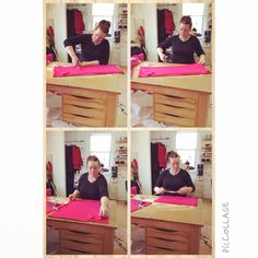 Caroline Oates in action cutting fabric for her new AW14 collection! Beautiful hot pink fabric