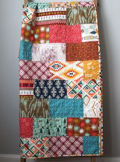 Modern Throw Quilt-Indie Quilt-Boho Quilt-Modern Lap Brick Quilt: or blocks, no border, quilt w big swirls or florals or spirals, use a pieced binding. Strip Quilts, Patch Quilt, Scrappy Quilts, Easy Quilts, Beginner Quilt Patterns, Quilting For Beginners, Quilt Baby, Bohemian Quilt, Bohemian Decor