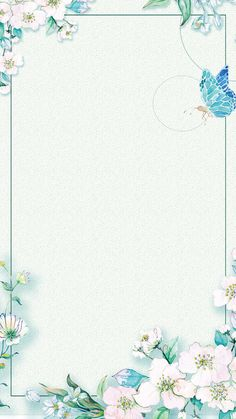 A small green flower border - photos Flower Background Images, Watercolor Flower Background, Watercolor Wallpaper, Flower Backgrounds, Watercolor Design, Flower Wallpaper, Framed Wallpaper, Iphone Background Wallpaper, Fond Design