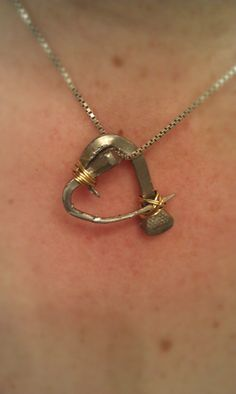 DIY January- Horseshoe Nail Heart Necklace #equestrian