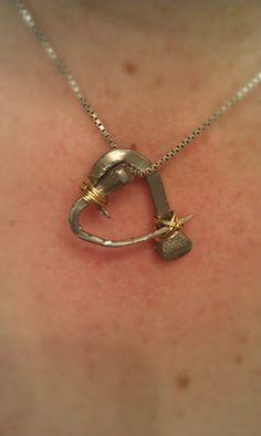 DIY January- Horseshoe Nail Heart Necklace  #equestrian