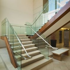 DUBIEL GLASS Balustrade Design, Glass Balustrade, Painted Stairs, Wooden Stairs, Stairs Architecture, Architecture Details, Beautiful Houses Interior, Beautiful Homes, Ladder