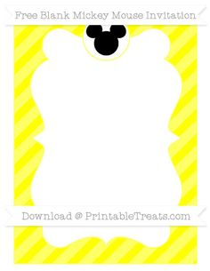 Free Yellow Diagonal Striped Blank Mickey Mouse Invitation