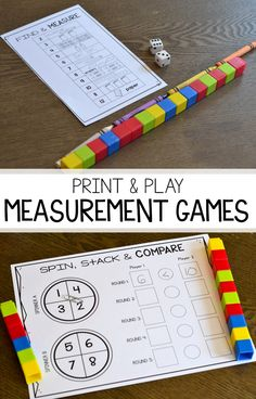 Looking for no prep activities for students to practice nonstandard and standard measurement? These black and white math games are perfect for students to compare and order lengths and practice their measurement skills! Nonstandard Measurement, Measurement Activities, First Grade Activities, Teaching First Grade, First Grade Teachers, 1st Grade Math, Kindergarten Activities, Teaching Math, Grade 1
