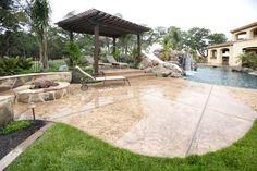 Stamped Concrete Pool Deck, Dark Brown Pergola Backyard Landscaping Landscaping Network Calimesa, CA