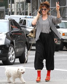 What IS she wearing? Actress Parker Posey steps out in black harem pants and bright red socks as she strolls around NYC Parker Posey, Black Harem Pants, Old Actress, Up Styles, All Things Beauty, Have Time, Style Icons, Nyc, Actresses