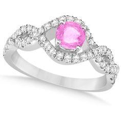 Allurez Enhanced Pink Diamond Infinity Engagement Ring 14k White Gold... (3 140 AUD) ❤ liked on Polyvore