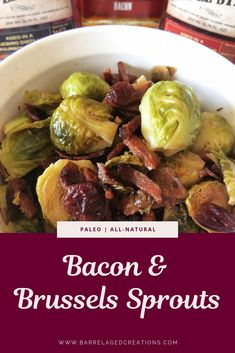 Stovetop cast iron brussels sprouts cooked with bacon, pecans, cranberries, and bourbon barrel aged maple syrup. Top with goat cheese for a delightful side. Easy Healthy Recipes, Paleo Recipes, Great Recipes, Whole Food Recipes, Healthy Meals, Holiday Recipes, Recipe Ideas, Side Dishes Easy, Side Dish Recipes
