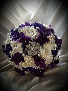 Glam Brooch Bouquet in White and SIlver, White and Silver Bridal Brooch Bouquet, Silver Jeweled Wedding Bouquet, Brooch Bouquet, DEPOSIT Purple Wedding Bouquets, Silk Flower Bouquets, Bride Bouquets, Flower Bouquet Wedding, Silk Flowers, Wedding Colors, Fabric Bouquet, Purple And Silver Wedding, Ivory Wedding