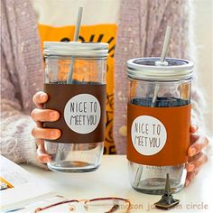 Simple Straw Coffee Fruit Hot Drink Installed Cup Milk Mason Jar Glass Bottles Cute Water Jar Mug Jarras Home Camping