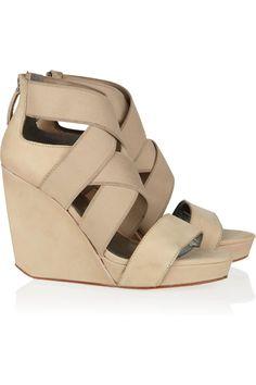 DKNY|Jennifer suede wedge sandals|NET-A-PORTER.COM