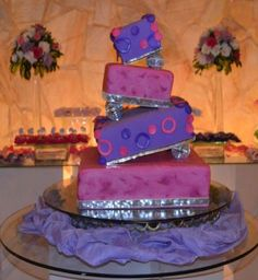 4 tier square topsy-turvy cake in lavender and pink with disco balls.JPG
