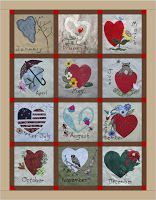 """""""Lazy Hearts"""" Block of the month quilt Heart Patterns, Quilt Patterns, Sewing Patterns, Block Of The Month, Bow Design, Quilting Tutorials, Quilting Ideas, Pocket Letters, Small Quilts"""