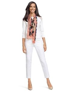 Art Gala - Create this look with our Sheer Shoulder Sweater, Cotton Button Tab Pencil Pants, Dot & Floral Print Scarf, & Textured Stretch Bracelets.