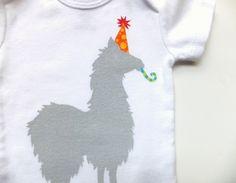 Party Llama Onesie (Gray with Yellow Polkadots on Orange Party Hat) - Newborn Baby Bodysuit. $14.00, via Etsy.