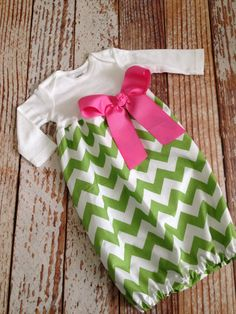 Newborn Layette, Infant Gown, Baby Gown - Green Chevron TEAGANS COMING HOME OUTFIT! YAY