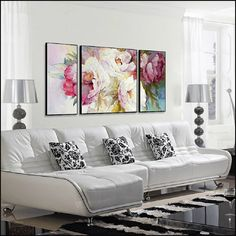 No matter what time of year we are, decorating a home with peony wall art is always a good idea. Flowers fill us with color and joy so undoubtedly will always be a good choice for decoration of any home. Living Room Decor Inspiration, Inspirational Wall Art, Living Room Grey, Bedroom Wall, Peonies, Decoration, Wall Decor, Interior Design, Painting Art