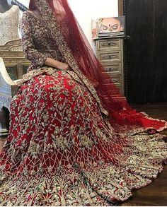 Bridal lahnga with pure dabka loaf work naqshee crystals and nagh work Model # B 1002 Asian Bridal Dresses, Bridal Mehndi Dresses, Walima Dress, Pakistani Wedding Outfits, Pakistani Bridal Dresses, Indian Bridal Wear, Pakistani Wedding Dresses, Bridal Outfits, Bridal Lehenga